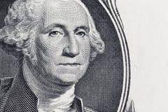 Fermez-vous jusqu'au portrait de George Washington sur un billet d'un dollar Images libres de droits