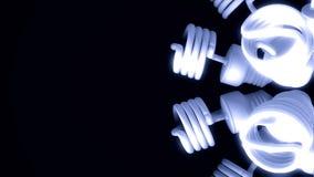 Fermez-vous pour la rotation ?conomiseuse d'?nergie bleue de lampes d'isolement sur le fond noir animation Mouvement abstrait de  illustration stock