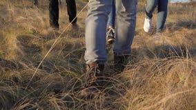 Fermez-vous sur des pieds marchant par l'herbe sauvage Photo stock
