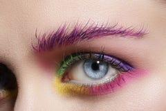 Fermez-vous sur des yeux, en faisant les fards à paupières et l'eye-liner colorés Photographie stock