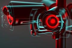 Fermez-vous sur la lentille de t?l?vision en circuit ferm? entour?e par un certain genre d'interface futuriste comme m?taphore de illustration stock