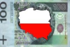 Fermez-vous sur la Pologne sur le billet de banque de 100 PLN Image libre de droits