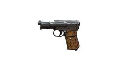 Fermez-vous sur la vieille illustration de vintage du pistolet sur le backgrou blanc Photos stock