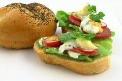 Fermez-vous vers le haut aux sandwichs frais réels Photographie stock
