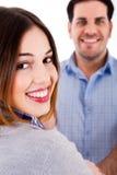 Fermez-vous vers le haut d'un couple de sourire Photos libres de droits