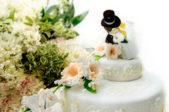 Fermez-vous vers le haut d'un gâteau de mariage Photographie stock libre de droits