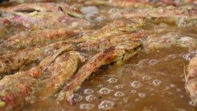 Fermez-vous vers le haut de faire cuire les poissons cuits à la friteuse de mulet rouge en huile banque de vidéos