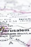 Fermez-vous vers le haut de Jérusalem sur la carte, Israël Photos stock