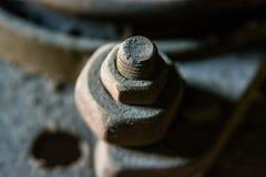 Fermez-vous vers le haut de l'écrou en métal sur le boulon Photo libre de droits