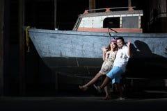 Fermez-vous vers le haut de l'amour de couples avec le concept de vintage Image libre de droits