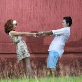 Fermez-vous vers le haut de l'amour de couples avec le concept de vintage Photos stock