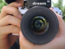 Fermez-vous vers le haut de l'appareil-photo Images libres de droits