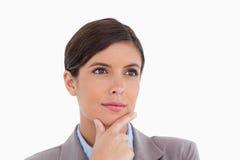 Fermez-vous vers le haut de l'entrepreneur féminin pensif Photographie stock