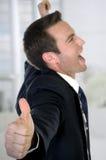 Fermez-vous vers le haut de l'homme d'affaires heureux Images libres de droits