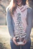 Fermez-vous vers le haut de l'image de la femme de brune tenant la décoration d'arbre de Noël de DIY photographie stock