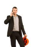 Fermez-vous vers le haut de l'ingénieur Talking Through Phone de Moyen Âge Image stock