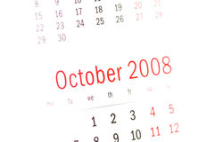 Fermez-vous vers le haut de l'octobre 2008 du calendrier Photos stock