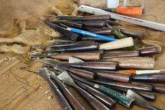 Fermez-vous vers le haut de l'outil pour la sculpture sur bois Photos libres de droits