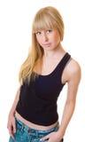 Fermez-vous vers le haut de la belle femme dans le T-shirt noir Photos libres de droits
