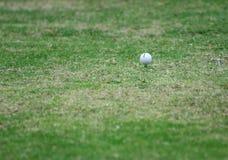 Fermez-vous vers le haut de la bille de golf sur le té photo stock