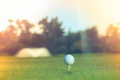 Fermez-vous vers le haut de la bille de golf sur le té Concept du nouveau début photo libre de droits