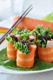 Fermez-vous vers le haut de la carotte Rolls Photo libre de droits