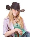 Fermez-vous vers le haut de la cow-girl de verticale Images stock