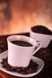 Fermez-vous vers le haut de la cuvette de café Image stock