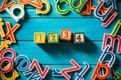 Fermez-vous vers le haut de la disposition de l'alphabet Photographie stock