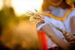 Fermez-vous vers le haut de la fleur d'herbe saisie dans la main de girl's Photographie stock libre de droits