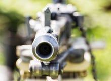 Fermez-vous vers le haut de la photo de la mitrailleuse chargée historique, la deuxième guerre mondiale Photographie stock libre de droits
