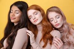 Fermez-vous vers le haut de la photo de trois dames posant dans le studio Photographie stock libre de droits