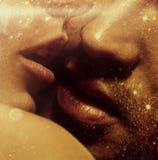 Fermez-vous vers le haut de la photo des lèvres sensuelles Image stock