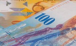 Fermez-vous vers le haut de la photo du franc suisse Photographie stock libre de droits
