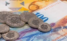 Fermez-vous vers le haut de la photo du franc suisse Photos stock