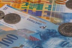 Fermez-vous vers le haut de la photo du franc suisse Photo stock