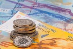 Fermez-vous vers le haut de la photo du franc suisse Image stock