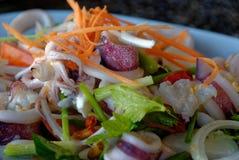 Fermez-vous vers le haut de la photo de la nourriture épicée thaïlandaise, Yam Roum Mid Talay photo libre de droits