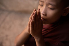 Fermez-vous vers le haut de la prière bouddhiste de moines de novice photos stock