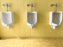 Fermez-vous vers le haut de la rangée des hommes blancs extérieurs d'urinoirs sur le jaune du publ de mur Photo libre de droits