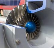 Fermez-vous vers le haut de la roue à aubes dans le ventilateur d'Indsustrial de côté, en coupe Photos libres de droits