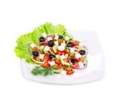 Fermez-vous vers le haut de la salade grecque Image libre de droits