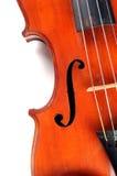Fermez-vous vers le haut de la section du violon antique Photographie stock libre de droits