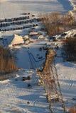 Fermez-vous vers le haut de la structure aérienne de saut à skis de mine argentée Photo stock