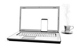Fermez-vous vers le haut de la tasse de café avec l'ordinateur portable et le téléphone portable d'isolement sur le fond blanc Photos stock