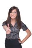 Fermez-vous vers le haut de la verticale du femme d'affaires. Pouces vers le haut ! Photographie stock libre de droits