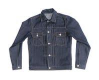 Fermez-vous vers le haut de la veste de denim de jeans Photographie stock