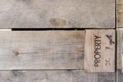 Fermez-vous vers le haut de la vieille barrière en bois grunge texturisée Vieilles planches de fond Photographie stock libre de droits