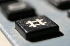 Fermez-vous vers le haut de la vue d'un bouton de hashtag Photographie stock libre de droits