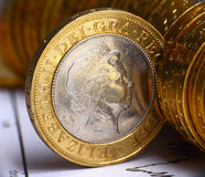 Fermez-vous vers le haut de la vue de la devise britannique Images libres de droits